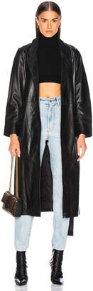 Smythe Lambskin Trench in Black | FWRD
