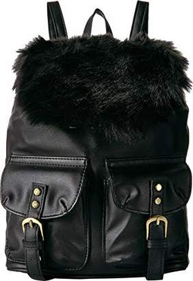 T-Shirt & Jeans Small Back Pack with Faux Fur Flap