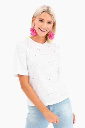 Rebecca Taylor Short Sleeve Dree Embroidery Jersey Top
