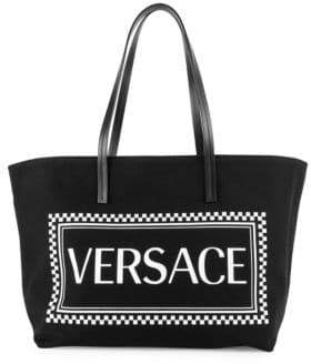 Versace Canvas Stamp Logo Tote