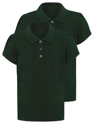 George Girls Bottle Green Scallop School Polo Shirt 2 Pack