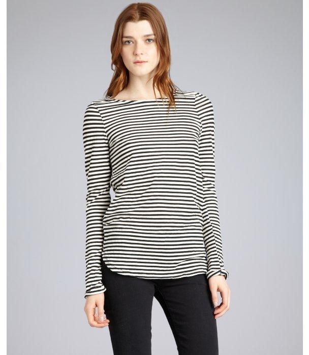 Fluxus off white striped cotton blend long sleeve t-shirt