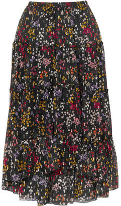 See by Chloe Floral-print Fil Coupé Silk-georgette Midi Skirt - Black