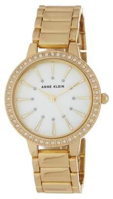 Anne Klein Women's Round Case Gold-Tone Bezel Crystal Bracelet Watch, 34mm