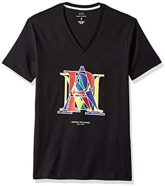 Armani Exchange A|X Men's SS V-Neck Combined Letter Logo T-Shirt