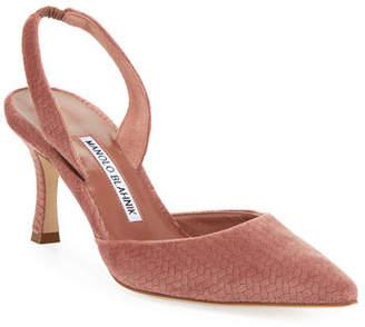 Manolo Blahnik Carolyne Etched Fabric Mid-Heel Halter Pump