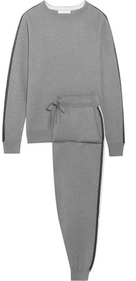 Olivia von Halle - London Striped Silk And Cashmere-blend Sweatshirt And Track Pants Set - Gray $1,235 thestylecure.com
