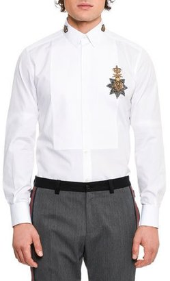 Dolce & Gabbana Crown Medal Embroidered Tuxedo Shirt, White $1,375 thestylecure.com