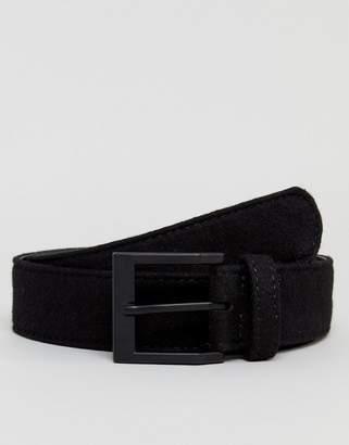 Asos Wide Belt In Black Felt And Black Matte Buckle