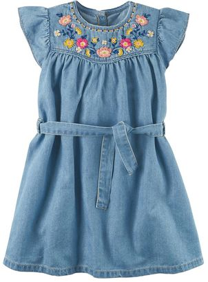 Toddler Girl Carter's Embroidered Chambray Dress $32 thestylecure.com