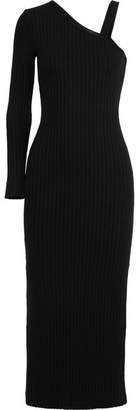 The Range - One-shoulder Ribbed-knit Midi Dress - Black