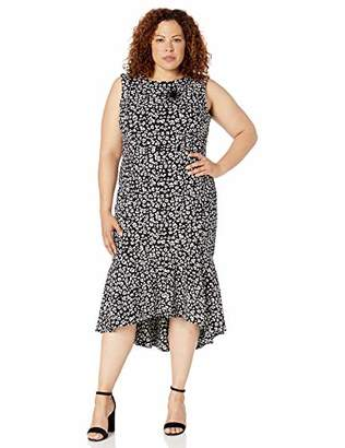 04774d34941 Calvin Klein Women's Plus Size Sleeveless High Low Flounce Hem Dress