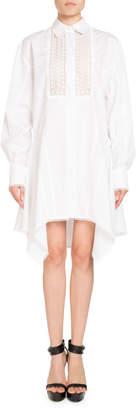 Andrew Gn Lace-Placket Poplin Shirtdress