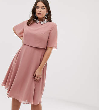 Asos DESIGN Curve midi dress with crop top and 3D embellished collar