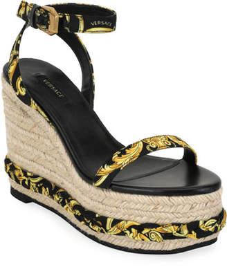 Versace Hibiscus Wedge Sandal Espadrilles