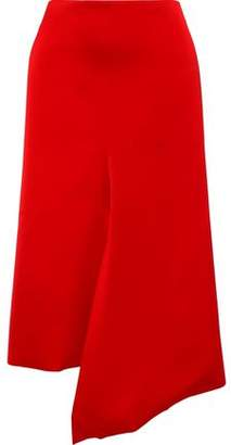 Tibi Asymmetric Draped Satin-crepe Skirt