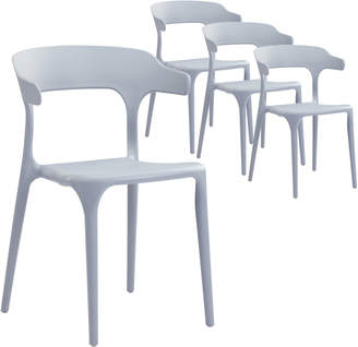 Webster Temple & Set of 4 Grey Hug UV-Stabilised Outdoor Dining Chairs
