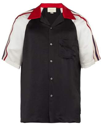 Gucci Contrast Panel Satin Shirt - Mens - Black
