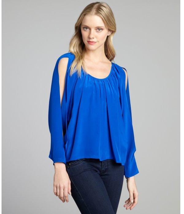 Jay Godfrey cobalt silk shirred slit dolman long sleeve blouse