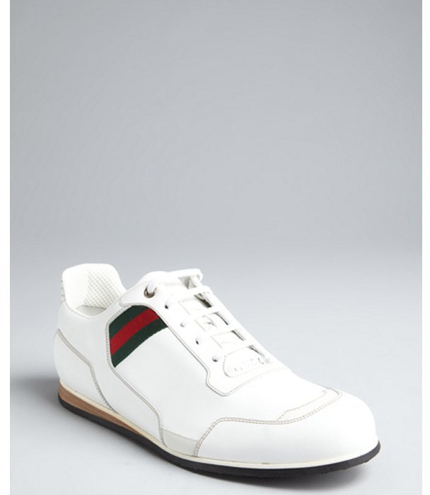 Gucci white leather web stripe sneakers