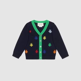 Gucci Baby bees and stars jacquard merino cardigan