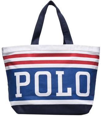 Polo Ralph Lauren logo stripe tote bag