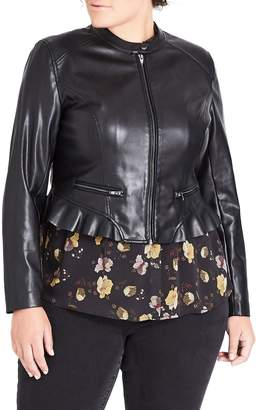 a4f07656583 Plus Size Faux Leather Jacket - ShopStyle