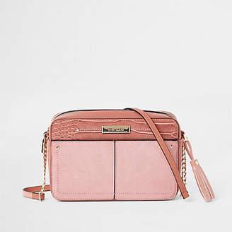 River Island Light pink tassel boxy cross body bag