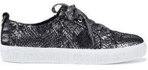 Opening Ceremony Metallic Snake-Print Leather Sneakers