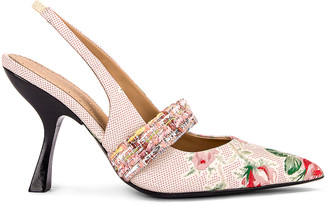 Brock Collection Floral Slingback Heels in White & Pink | FWRD