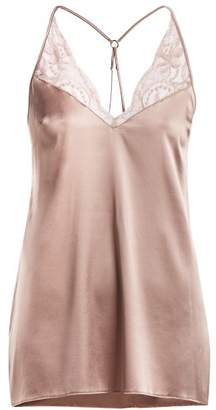 Fleur of England Silk Blend Babydoll Slip Dress - Womens - Light Brown