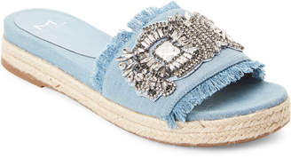 Marc Fisher Blue Denim Jelly Espadrille Slide Sandals