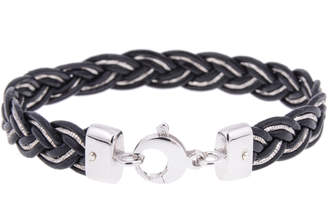 Think Positive By Antonio Marsocci Mens Leather And Silver Chain Bracelet