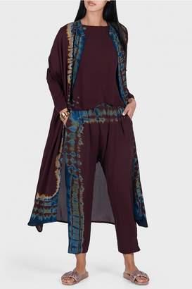 Raquel Allegra Mulberry Silk Tie Dye Pop Over Kaftan