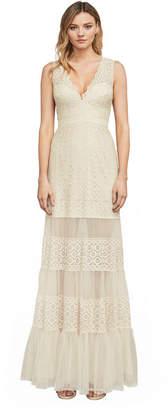 BCBGMAXAZRIA Alecia Metallic Lace Gown