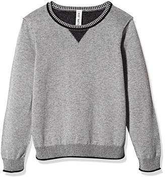 Kid Nation Boys' Long-Sleeve Pullover Sweater with Elbow Patches Grey