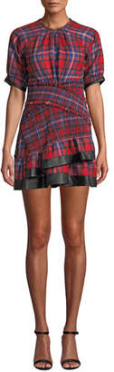 Tanya Taylor Nicole Plaid Flannel Ruffle Mini Dress