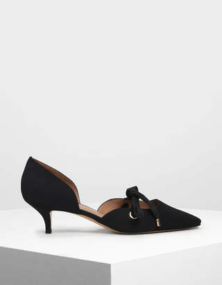 Charles & Keith Bow Detail D'Orsay Kitten Heels
