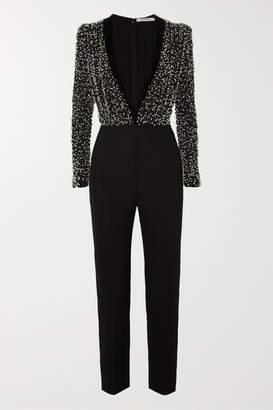 Givenchy Velvet-trimmed Bead-embellished Silk-crepe Jumpsuit - Black