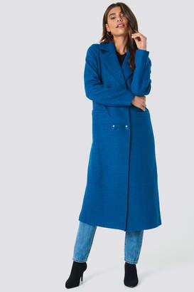 NA-KD Na Kd Double Breasted Long Coat Blue