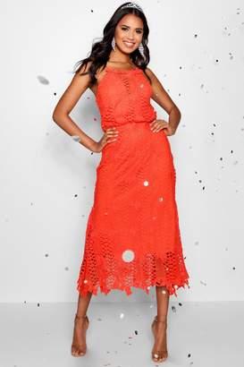 boohoo Boutique Lace Flared Hem Midi Dress