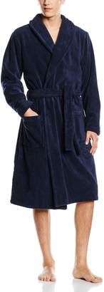 Tommy Hilfiger Plush Cotton Shawl-Style Men's Bathrobe, Navy