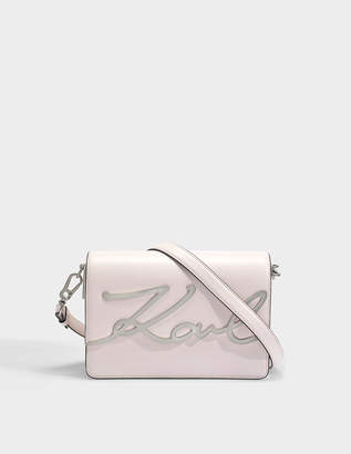 Karl Lagerfeld K/Signature Shoulder Bag in Light Rose Smooth Calf Leather