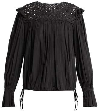Isabel Marant Ãtoile Atoile - Rock MacramA Lace Cotton Top - Womens - Black