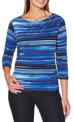 Rafaella Petite Striped Cotton Top