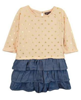 Limited Too Long Sleeve French Terry & Denim Ruffle Dress (Baby Girls)