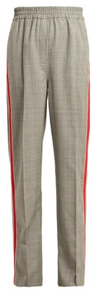 Calvin Klein Side Stripe Straight Leg Checked Wool Trousers - Womens - Grey Multi
