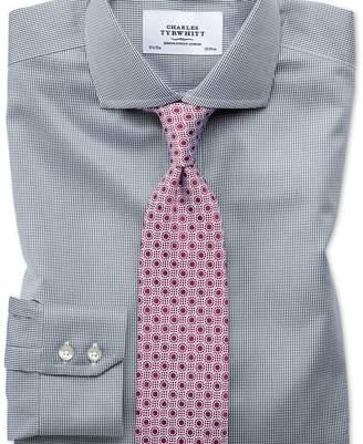 Charles Tyrwhitt Extra slim fit cutaway non-iron puppytooth dark grey shirt