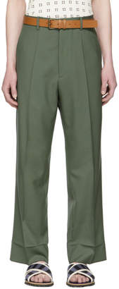 Marni Green Wool Wide-Leg Trousers