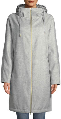 Herno Long Coat w/ Removable Nylon Hood